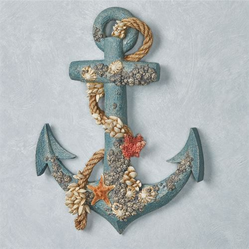 Seashell Anchor Wall Accent Blue