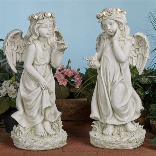 Serene Angel Sculptures Ivory Set of Two