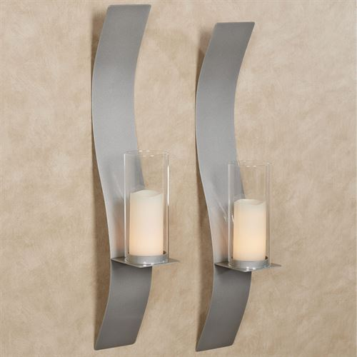 Sinuous Wall Sconce Pair Silver