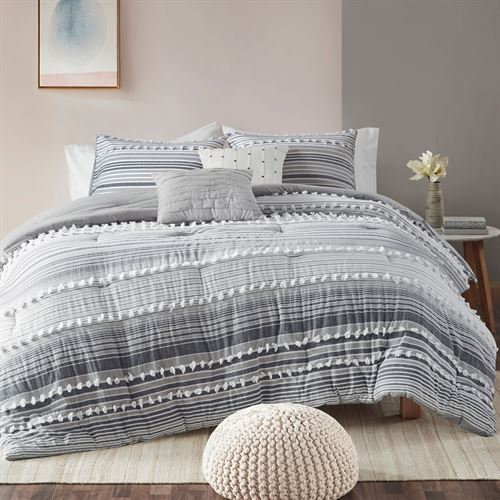 Calum Comforter Bed Set Gray