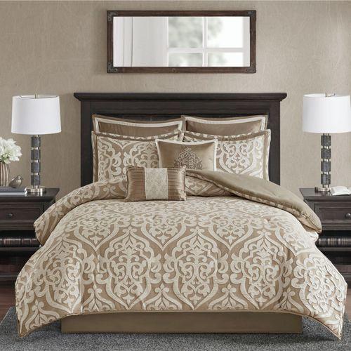 Odette Scroll Comforter Bed Set Champagne Bronze