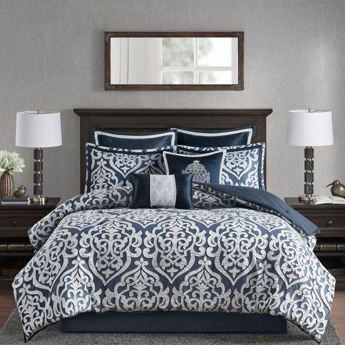 Odette Scroll Comforter Bed Set Midnight Blue