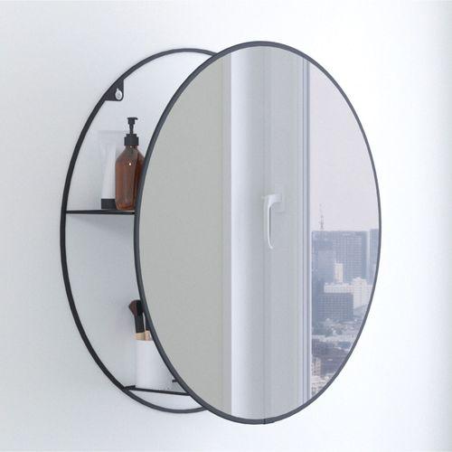 Round Storage Wall Mirror Black