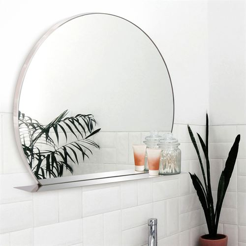 Pure Harmony Wall Mirror with Shelf Stainless Steel