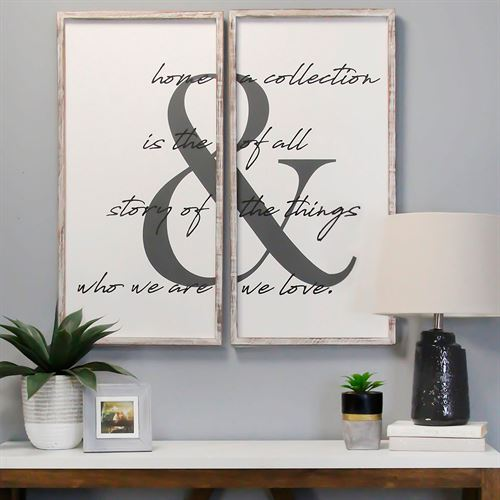 Home Is the Story Wall Plaques White Set of Two