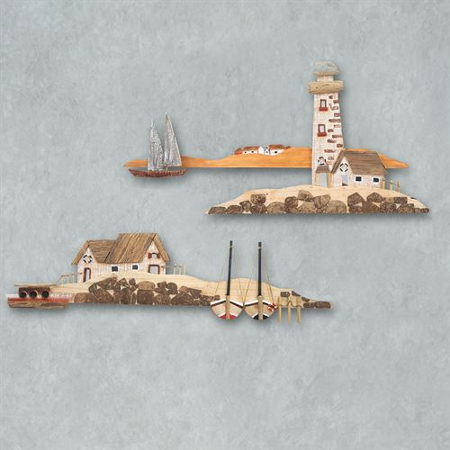 Lighthouse Beach Reclaimed Wall Art Natural Set of Two