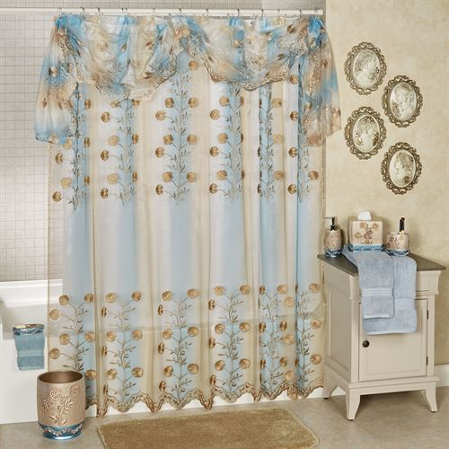 Ombre Rose Sheer Embroidered Shower Curtain Blue 70 x 72