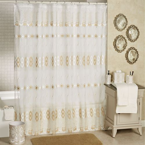 Arabella Sheer Embroidered Shower Curtain Ivory 70 x 72