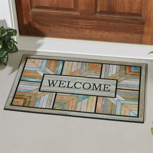 Colorful Roots Welcome Doormat Multi Warm 30 x 18