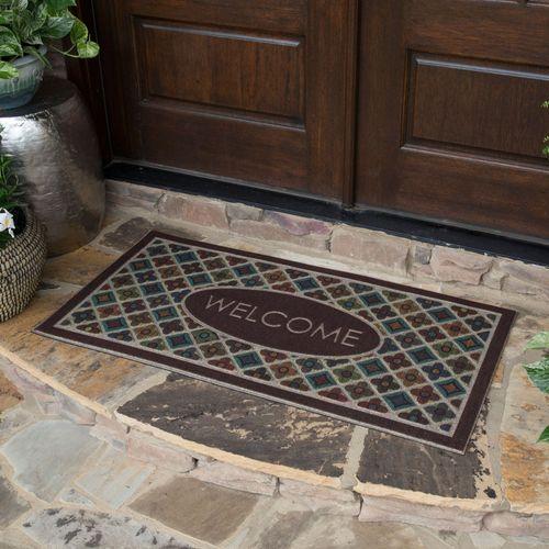 Flowery Tiles Doormat Chocolate 48 x 24