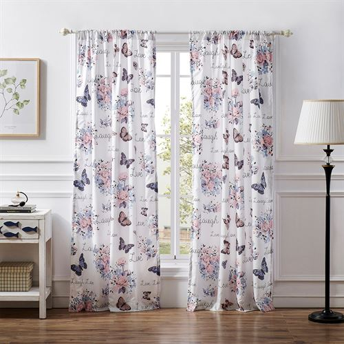 Garden Joy Butterfly Floral Tailored Curtain Pair Multi Pastel 84 x 84