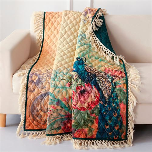 Eden Peacock Throw Blanket Multi Jewel 50 x 60