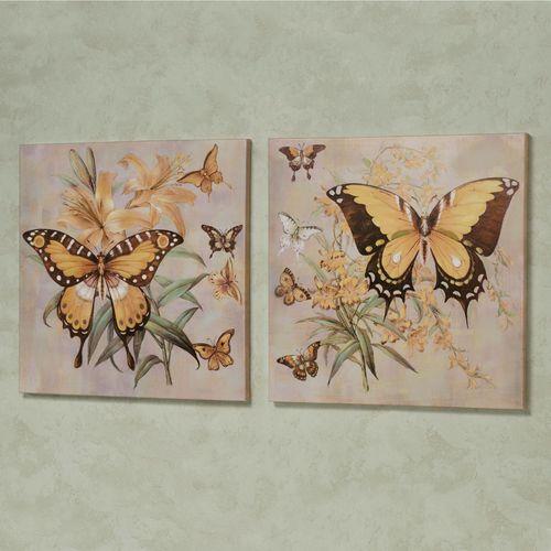 Garden of Butterflies Canvas Wall Art Yellow Set of Two