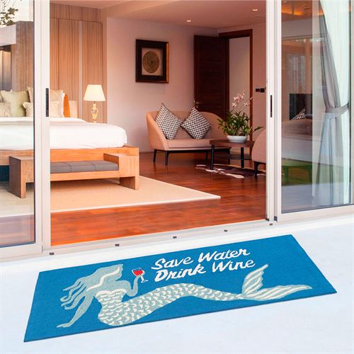Save Water Drink Wine Mermaid Rectangle Mat Blue 60 x 24