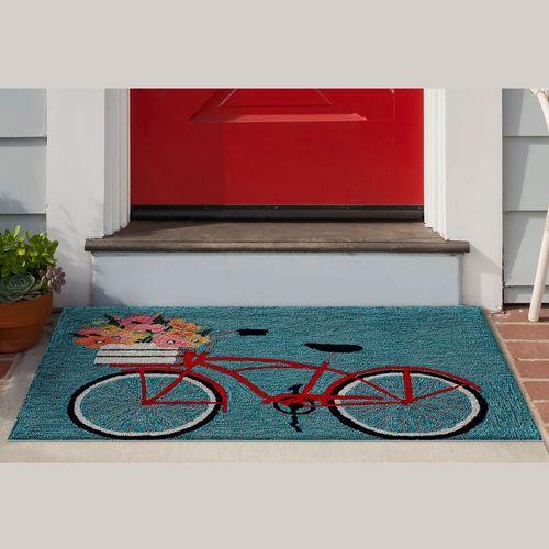 Bike Ride Rectangle Mat Blue