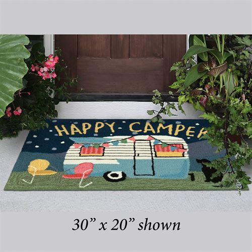 Happy Camper Night Rectangle Mat Blue