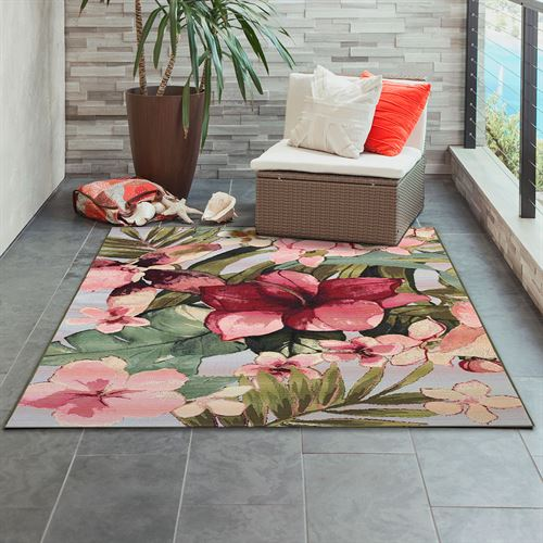 Tropical Floral Rectangle Rug Multi Bright