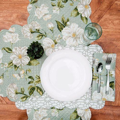 Magnolia Garden Table Runner Seafoam 14 x 51