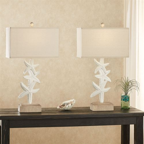 Coralia Starfish Table Lamp Pair Off White