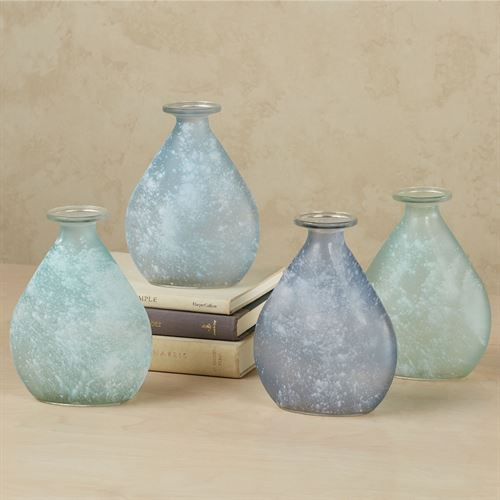 Frosted Teardrop Vases Multi Cool Set of Four