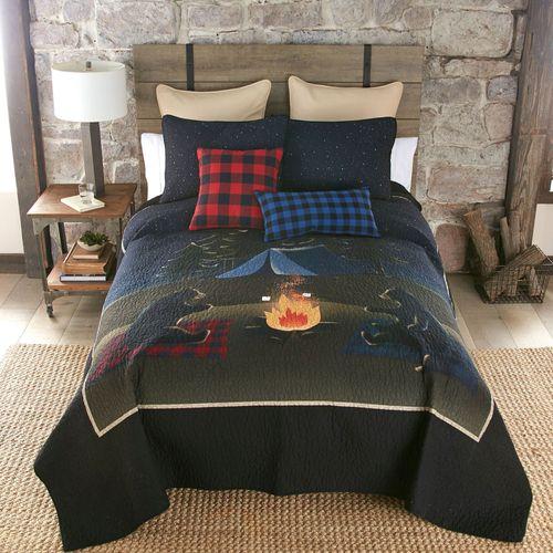 Bear Campfire Mini Quilt Set Black