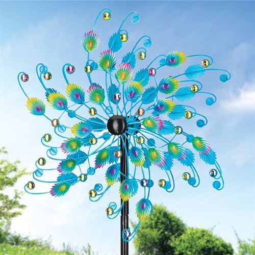 Peacock Feather Wind Spinner Blue