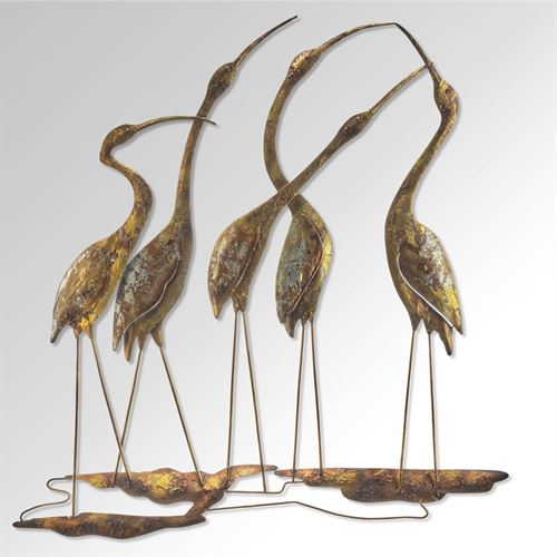 Flocking Five Waterbirds Wall Art Multi Metallic