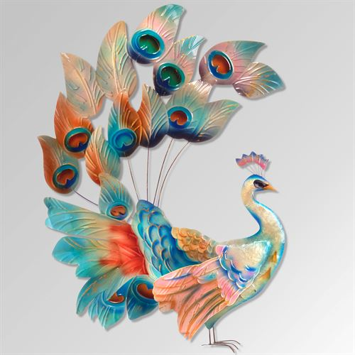 Grandiose Peacock Wall Art Multi Jewel
