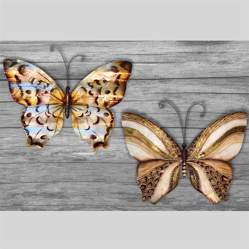 Elana Butterfly Wall Art Multi Metallic Set of Two