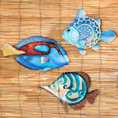 Alain Fish Wall Art Blue Set of Three