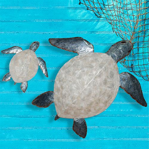 Venturing Sea Turtle Wall Art Pearl Set of Two