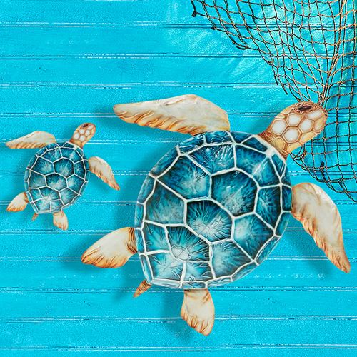 Oceania Sea Turtle Wall Sculptures Blue Set of Two