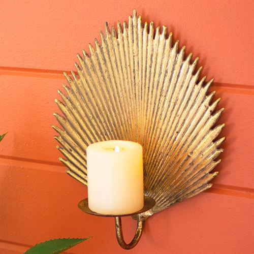 Palm Leaf Wall Sconce Pair Antique Gold