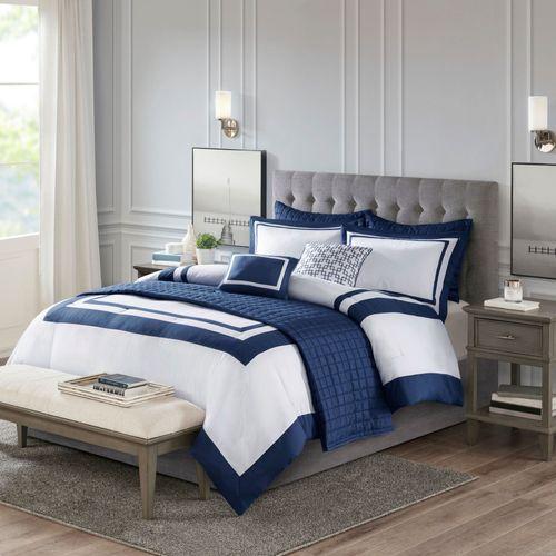 Heritage Comforter Bed Set Navy