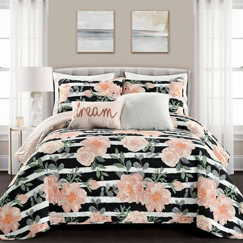 Amara Quilt Bed Set Black