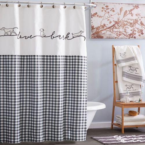 Farmhouse Dogs Shower Curtain Black 72 x 72