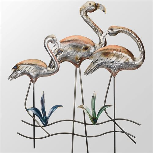 Flamingo Family Wall Art Multi Metallic