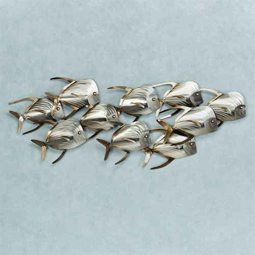 School of Fish Wall Sculpture Silver