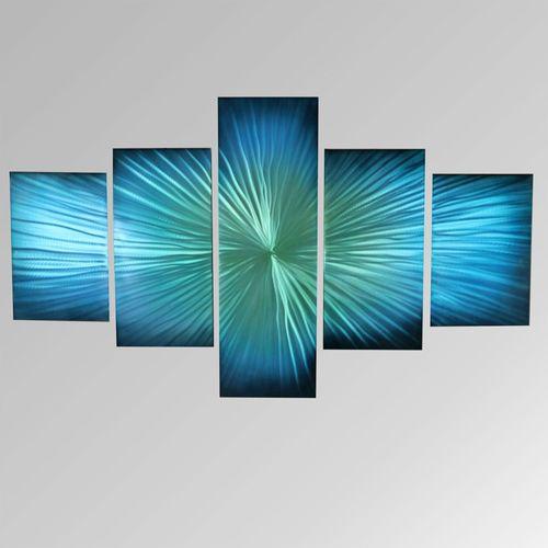 Bursting Columns Wall Sculpture Set Blue Set of Five