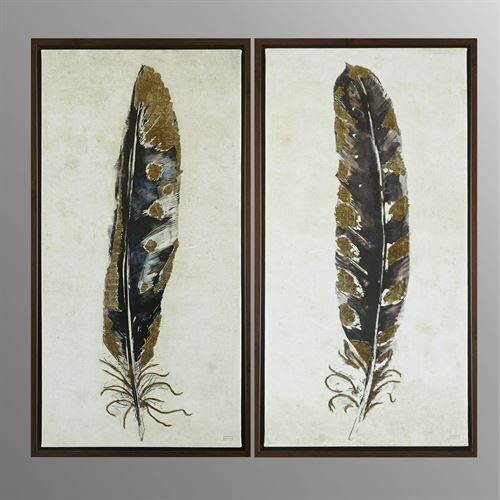 Gilded Feathers Framed Canvas Wall Art Gold Set of Two