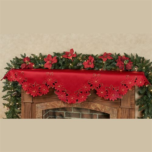 Christmas Poinsettia Cutwork Mantel Scarf Red 70 x 22