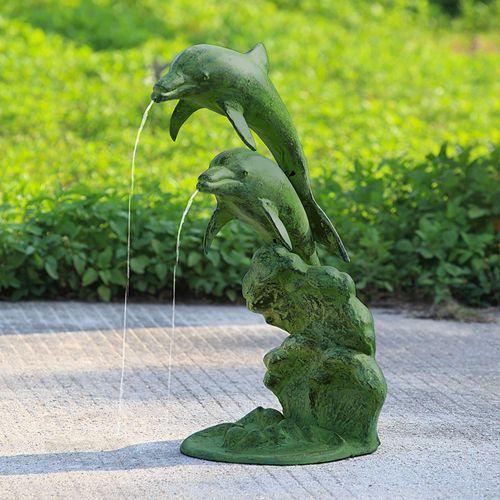 Leaping Dolphins Garden Spitter Sculpture Moss