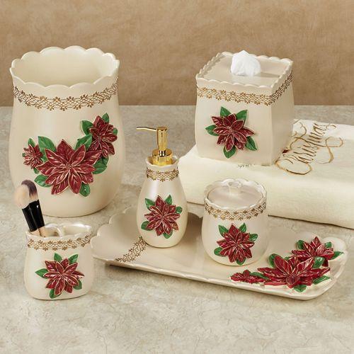 Poinsettia Grace Lotion Soap Dispenser Light Cream