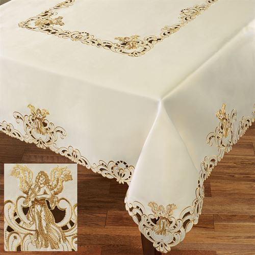 Angelica Oblong Tablecloth Ivory