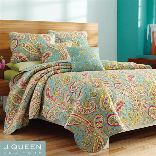 Persnickety Coverlet Set Aqua