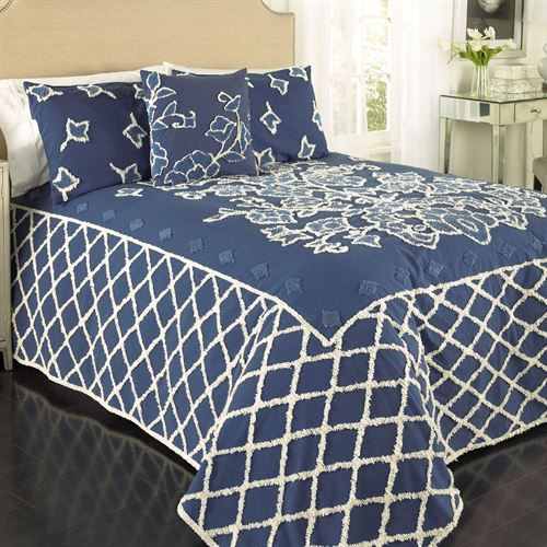 Blue Grotto Chenille Bedspread Midnight