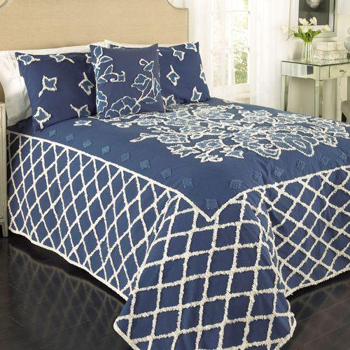 Blue Grotto Chenille Bedspread Midnight
