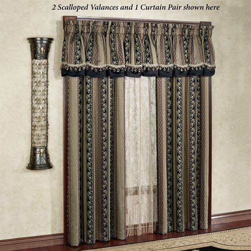 Fontainebleau Scalloped Valance Taupe 78 x 20