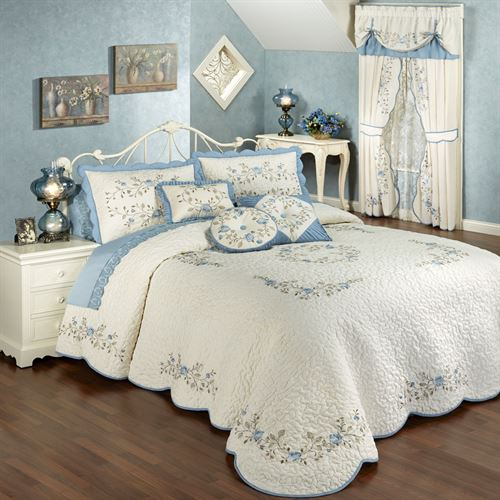 Vintage Charm Embroidered Quilted Bedspread Bedding Closeout