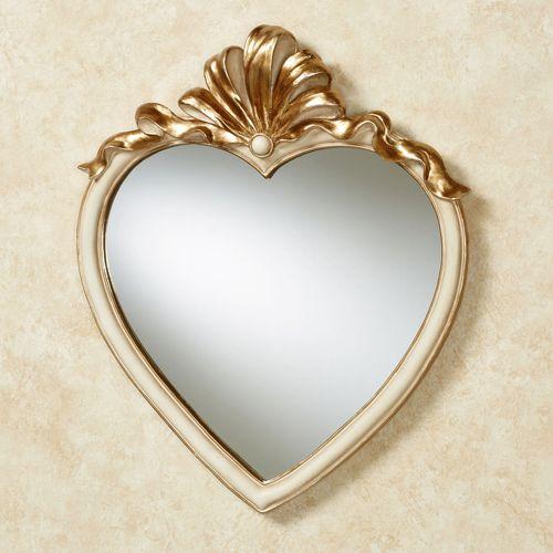 Leandra Heart Wall Mirror Ivory/Gold
